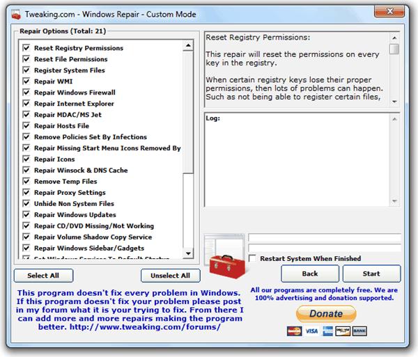 download windows repair tool tweaking