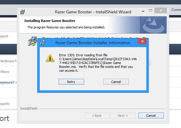 Trouble installing Razer Game Booster - Software Discussion