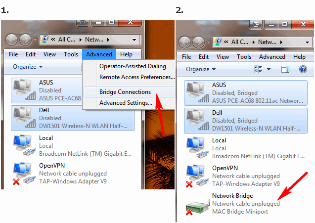 Bridging connections - Windows 7 says I don't have