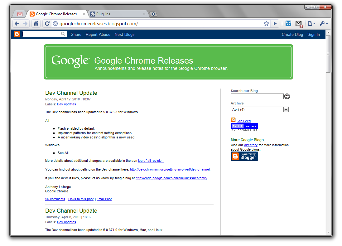 Dev Channel] Google Chrome 5 0 375 (for Linux, Mac OS X and Windows