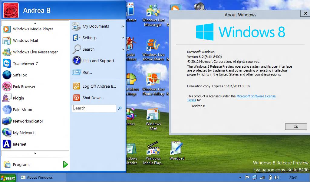 Attached Image: Windows XP start menu Windows 8..JPG