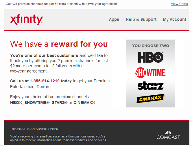 2 A Month For Two Premium Channel From Xfinity 2y Contract