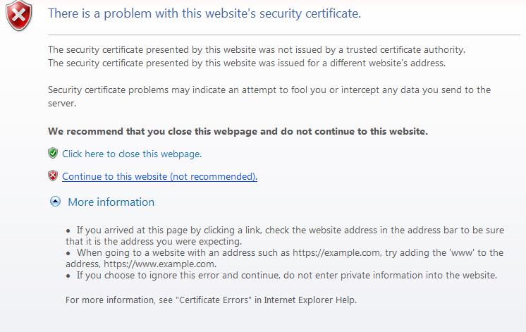 Problems Access Website Security Certificate Error The Cloud