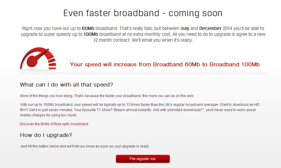 virgin media broadband speed increase Johansson 'disappointed'