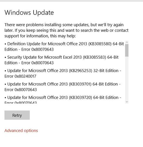 Windows Updates Tries to Install Office 2013 Patches After