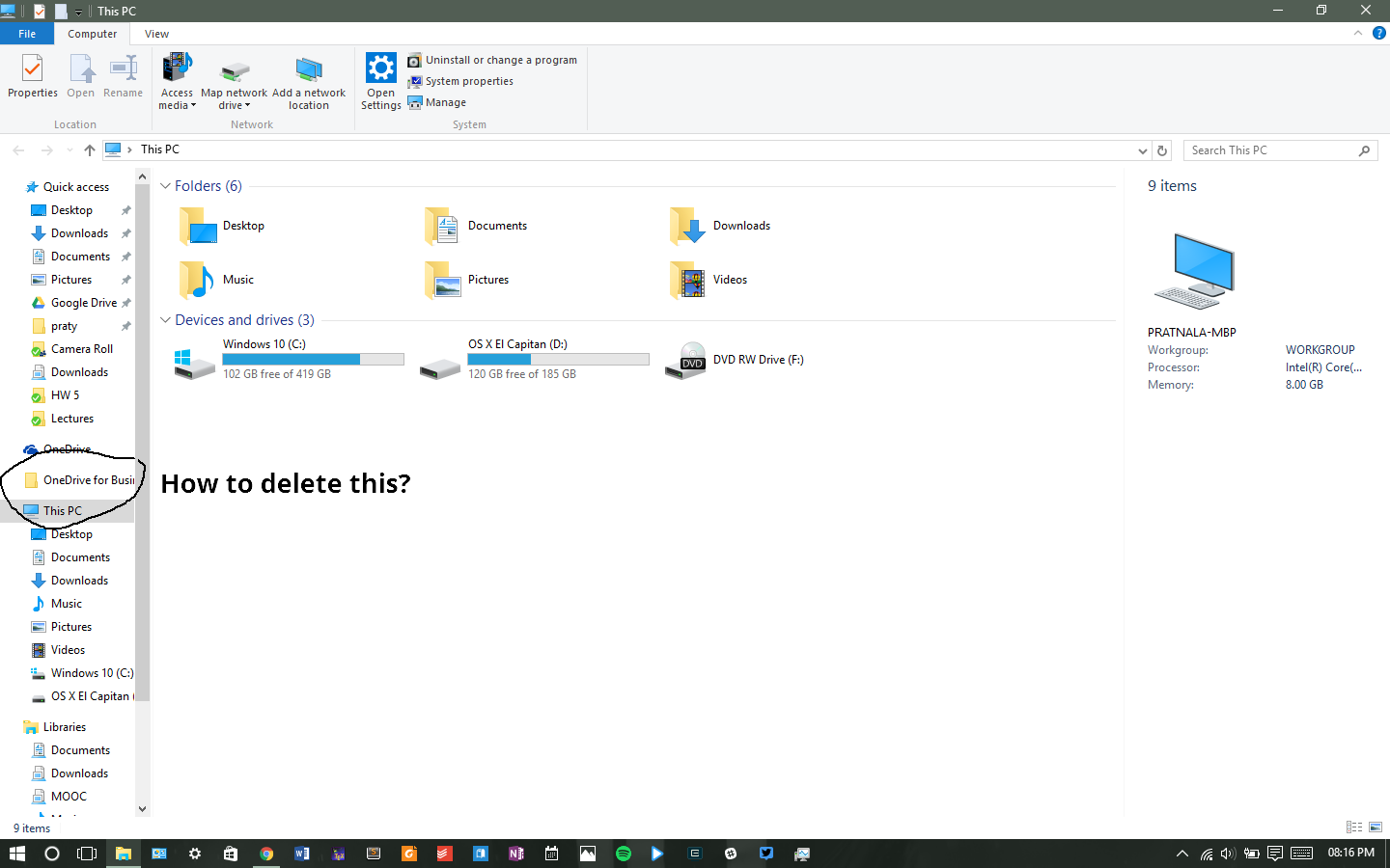 Remove the OneDrive for Business shortcut in the Explorer