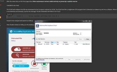 Test your AV with a sample  js javascript file  Will your AV