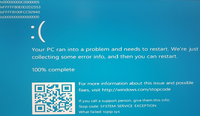 ntoskrnl.exe blue screen system_service_exception