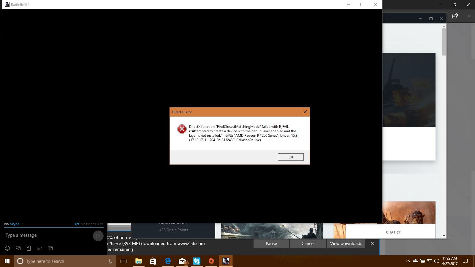 Directx error origin