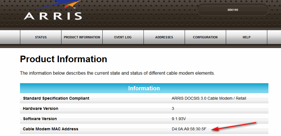 Unknown MAC/ IP address showing on cable modem - The Cloud (Internet