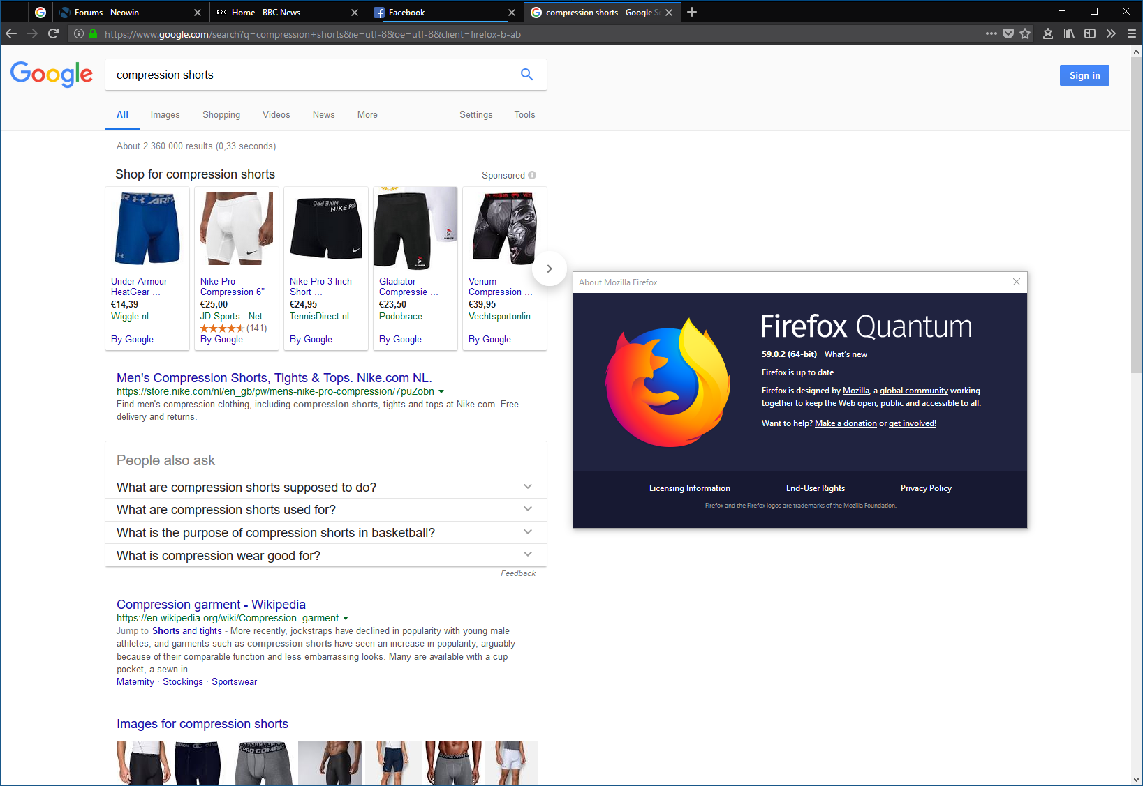 Ads in google search (FireFox) all of a sudden - The Cloud (Internet