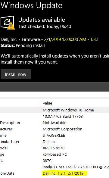 10 Update wants to install an already installed BIOS update