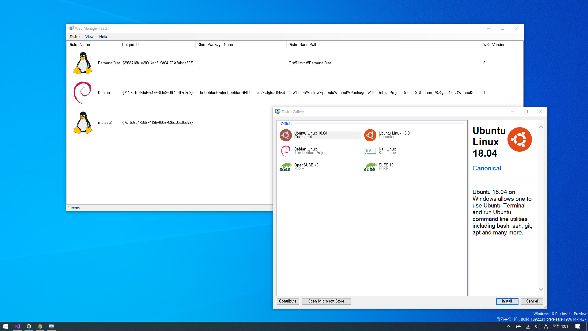 WSL Manager - GUI based WSL distro manager application