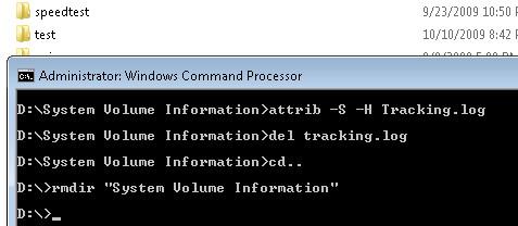 Cannot delete system volume information folder on windows 7