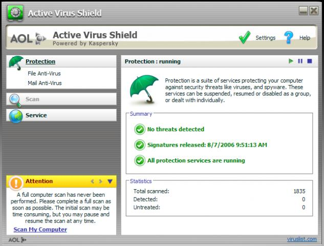 active virus shield by aol versin 6.0.0.299