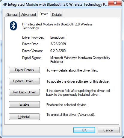 Bluetooth device driver peripheral broadcom