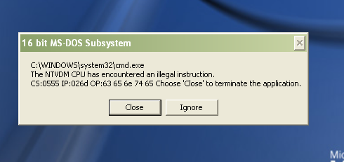 the ntvdm cpu encountered an illegal instruction