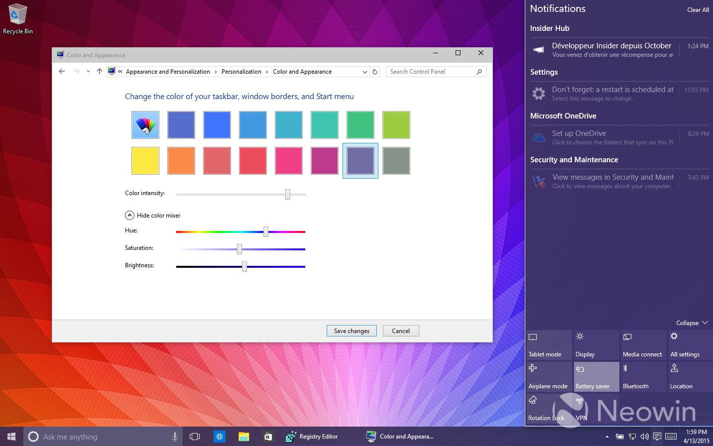 Windows 10 10056 turning on custom color themes yellow for Custom design windows