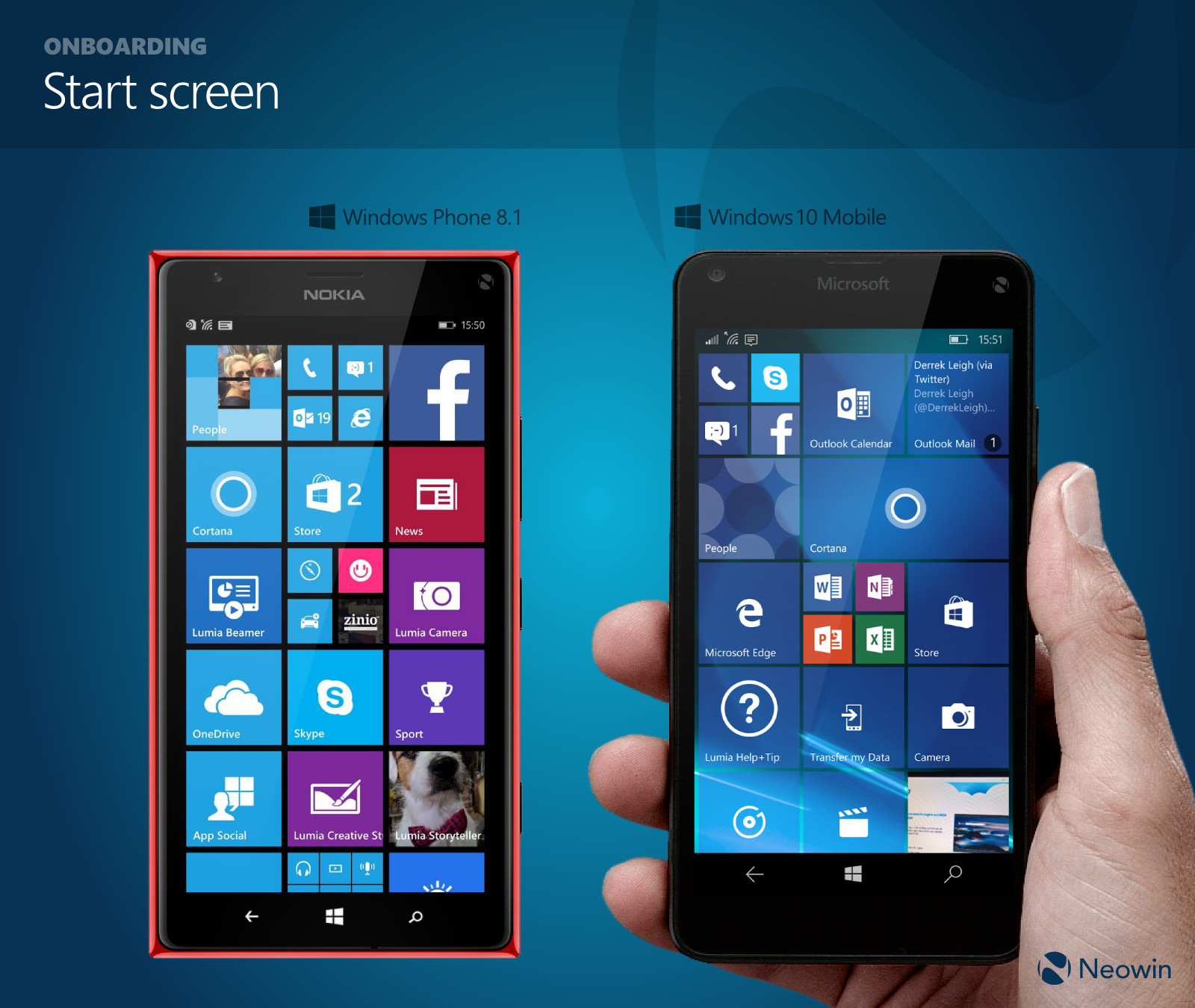 In pictures comparing windows phone 8 1 and windows 10 for Windows phone