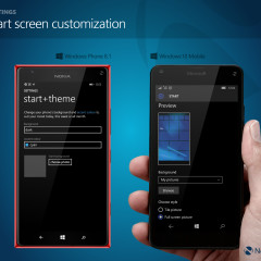 Start + theme customization (WP8.1) / Start screen customization (W10M)