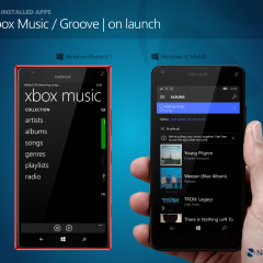Main view on launch for Xbox Music (WP8.1) / Groove (W10M)