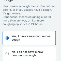 self reporting screen asking about a cough