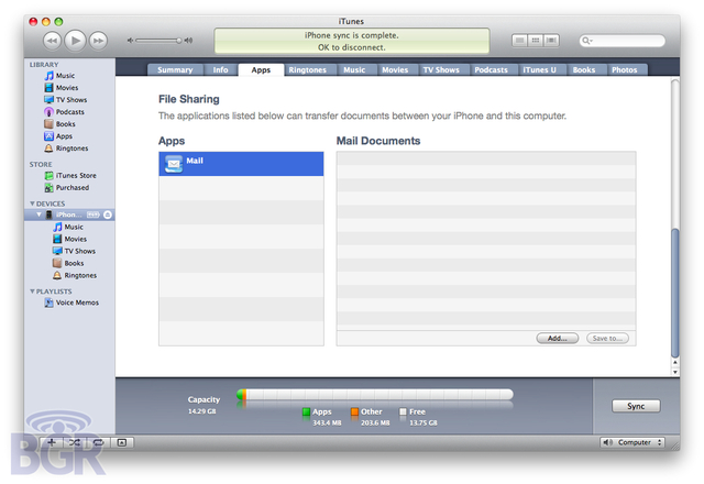 File Sharing under Apps tab in iTunes