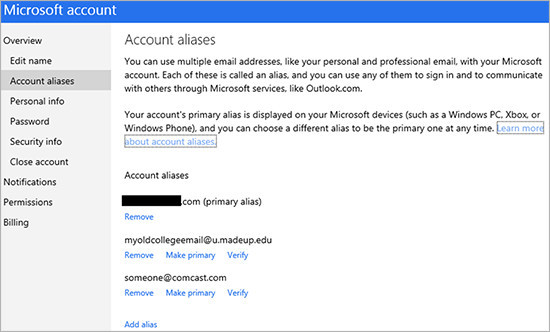 Changing primary Microsoft Account alias will require hard reset on