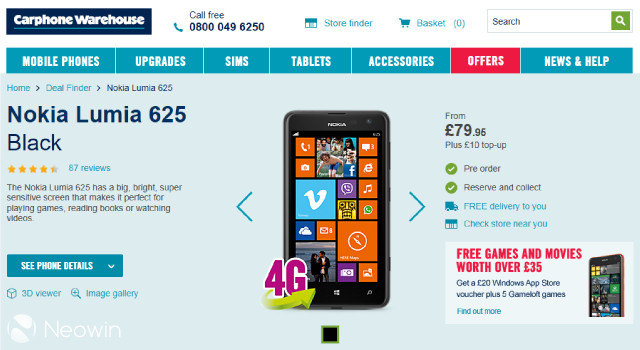 Nokia Lumia 625 4G Windows Phone now just £79 95 in the UK