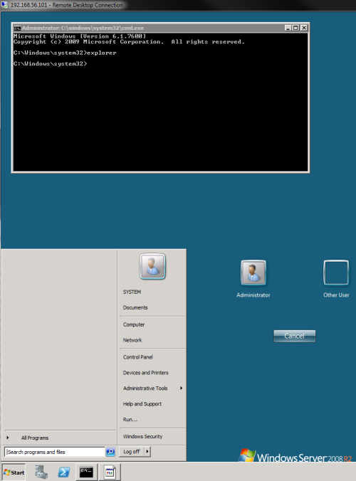 Hack allows any application to run on top of Windows 7 login screen