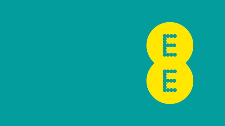 The EE logo on a blue background