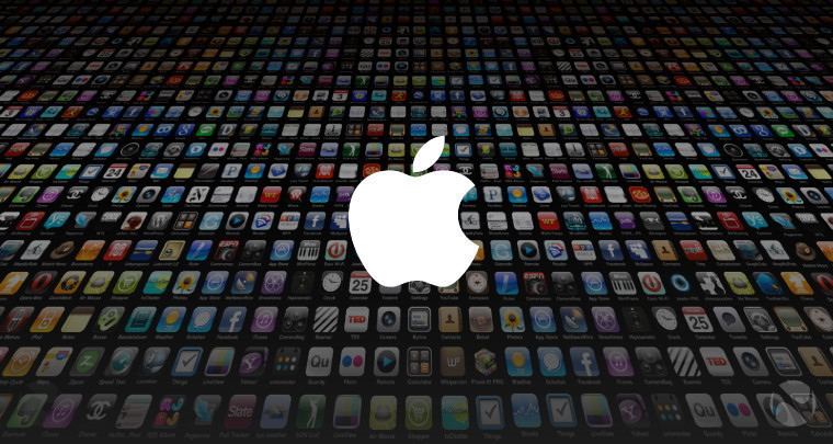 Thousands of app icons in the background with a white Apple logo in the foreground