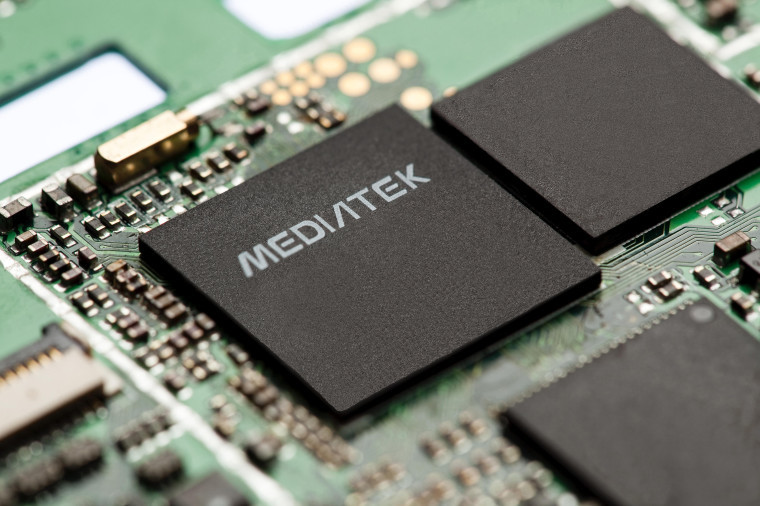 Motherboard with chip that has MediaTek text printed on it