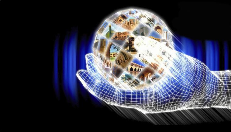A digital hand holding a digital representation of the globe