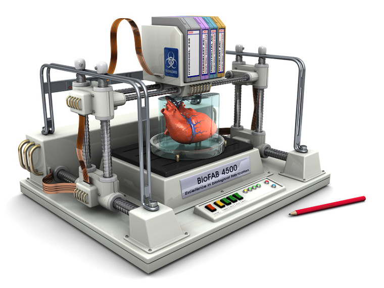 Concept of what a 3d Bioprinter might look like (Courtesy of ExplainingTheFuture.com)