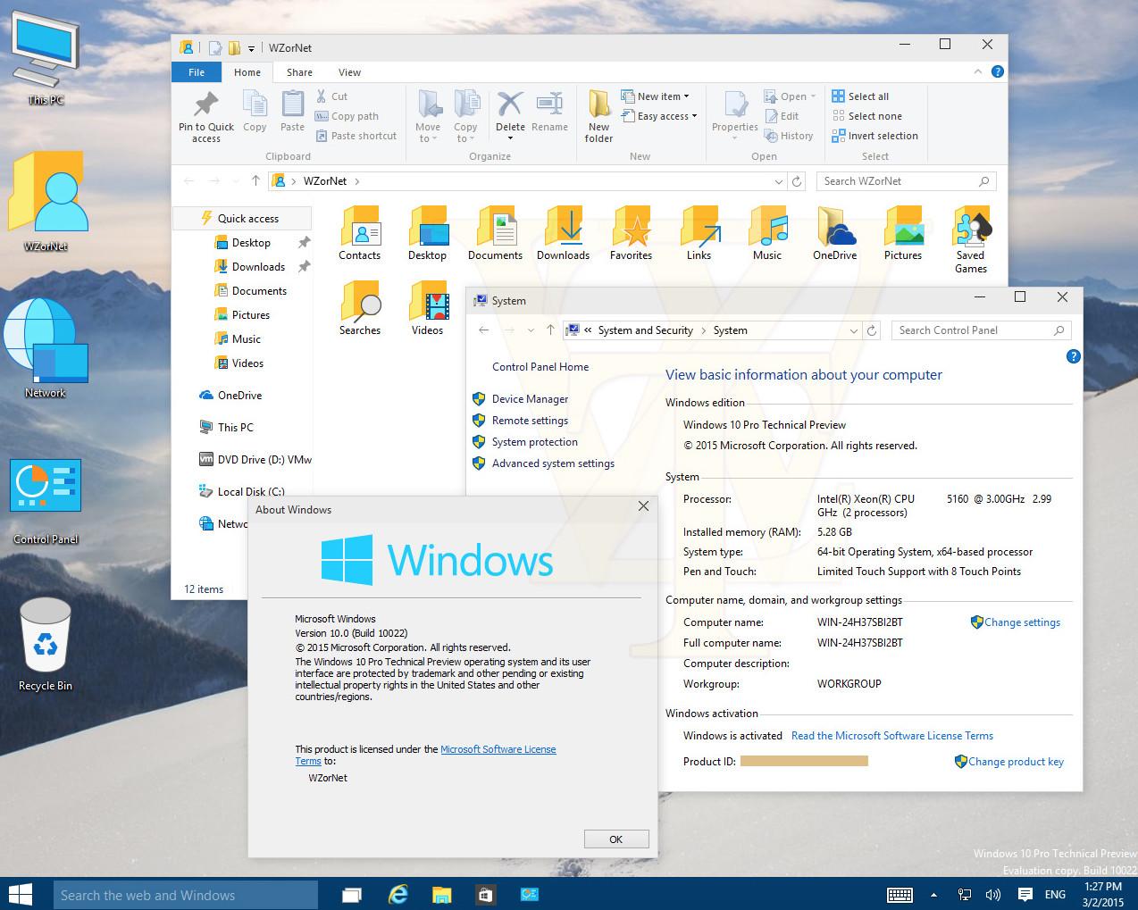 Plethora of screenshots from Windows 10 build 10022 leak