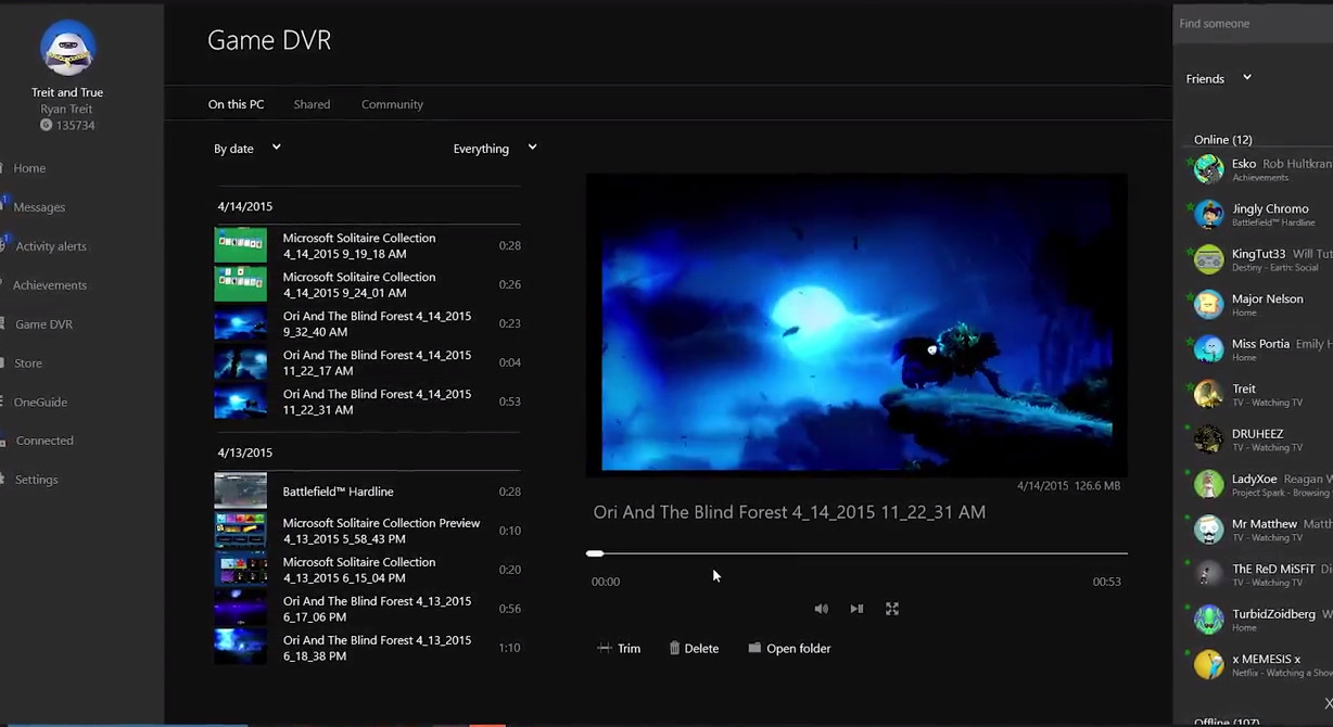 Microsoft updates Xbox app for Windows 10, Game DVR comes to