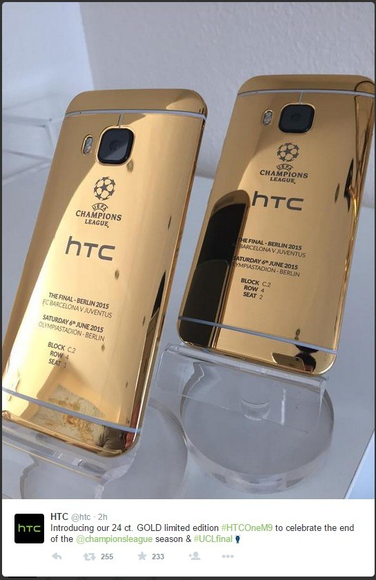 timeless design 1670c b4e7d HTC debuts limited edition 24 karat gold One M9 using iPhone 6 - Neowin