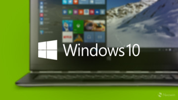 Windows 10 text and logo with blurred laptop in the background