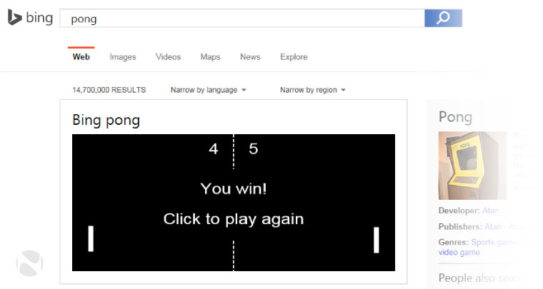 microsoft challenges you to a game of bing pong on its search site