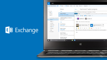 Outlook mail open on a laptop screen with Exchange written on the left