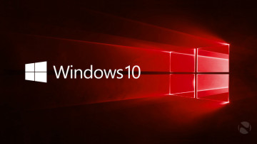 Windows 10 hero image in red with text and logo