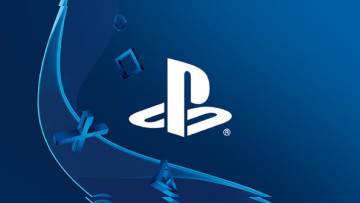 White PlayStation logo on a blue background