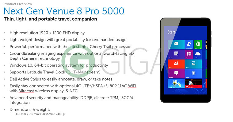 "Dell Venue 8 Pro successor leaked with ""real desktop experience"