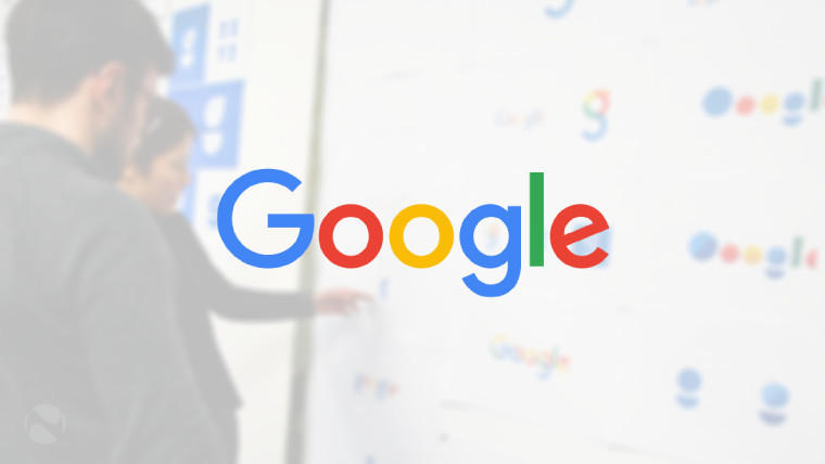 The Google logo with two people in the background