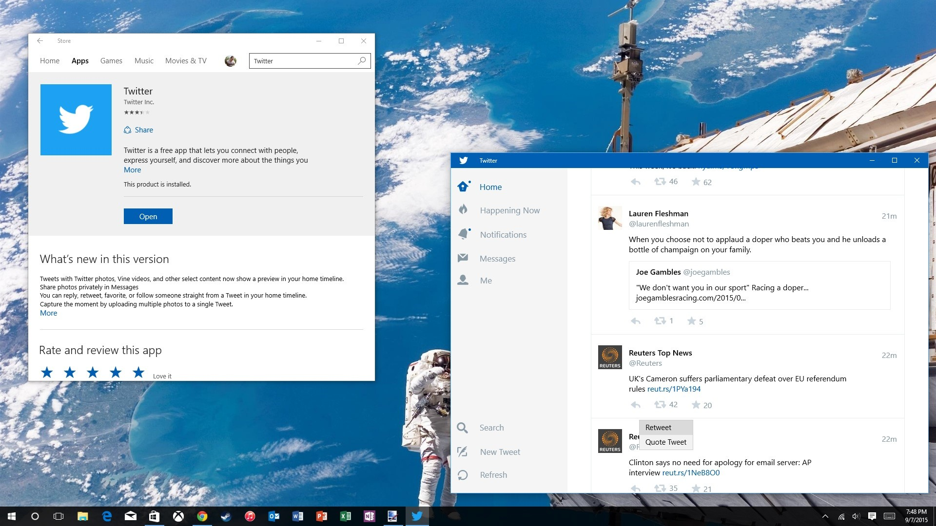 Twitter for Windows 10 updated with quote tweet, multiple