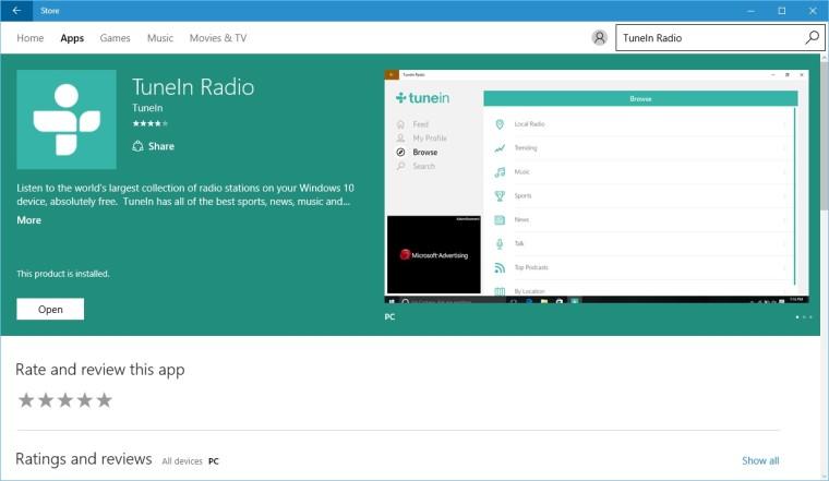 TuneIn announces availability of TuneIn Radio Universal app