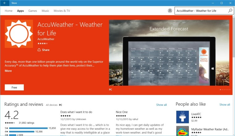 AccuWeather Launches on Windows 10 as Universal App