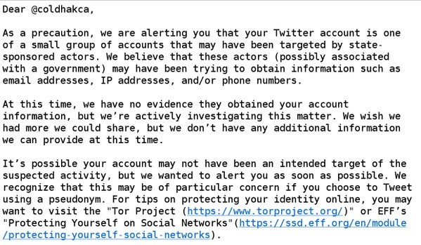 Twitter becomes the third social network to warn users of state-sponsored attacks, after Google and Facebook