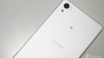 The beautiful back of a Sony Xperia mobile phone in white
